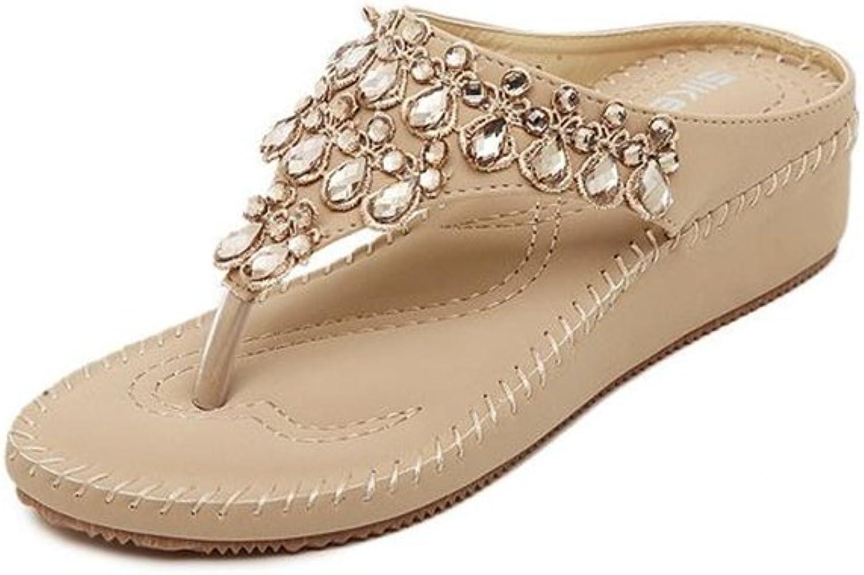 Womens Flip-Flops Sandals - Boho Summer Platform Wedge Sandals Slippers Beach shoes
