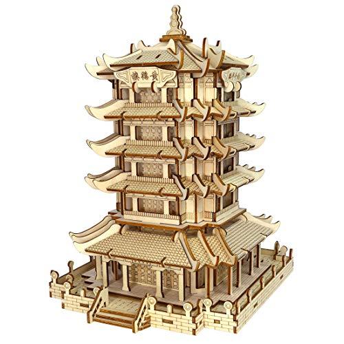 Batop Rompecabezas de madera 3D, 230 piezas, diseño de torres amarillas