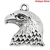 PEPPERLONELY 50pc Antiqued Silver Alloy Eagle Animal Charms Pendants 22x19mm (7/8' x6/8')