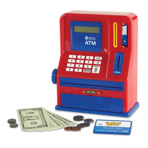 Learning Resources Teaching ATM Bank, Blue & Red, 32 Pieces