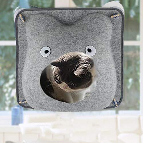 Decdeal vilten kat vensterbank kattenholle kattenhuis hangmat met zuignappen incl. kussen