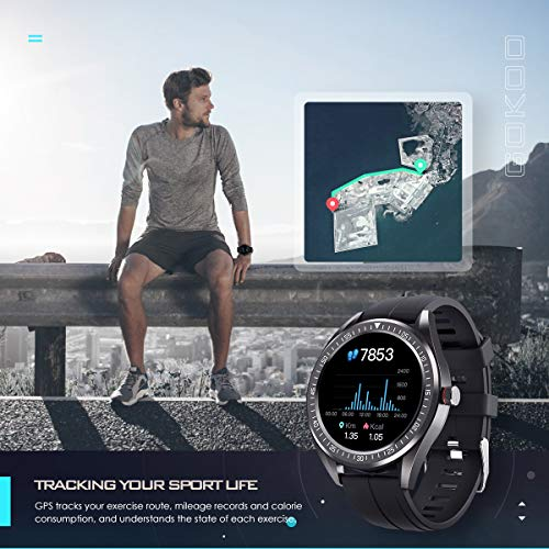 GOKOO Smart Watch for Men Heart Rate Sleep Monitor IP68 Waterproof Activity Tracker Breathing Train Full Touch Screen Sport Smartwatch Step Calorie Counter