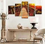 DGGDVP Hermosas imágenes de árboles de otoño Caballete de Madera en Pintura de Bosque Cuadros Decorativos de Pared Modernos impresión en Lienzo Tamaño 1 Marco