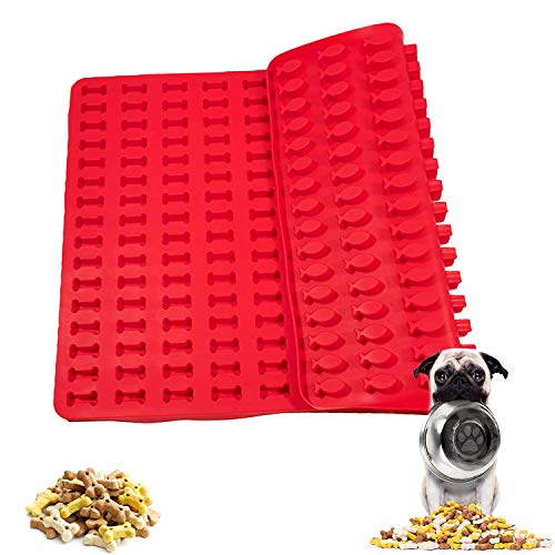 WELLXUNK Backform Mini Hundekekse, Backmatte Hundekekse Silikon, Klein Silikonbackformmen, Backform Für Hundeleckerli, Für Hundekekse & Hundeleckerlies, Backpapier, Backunterlage, Pralinenform