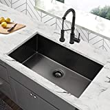 30 inch Gunmetal Black Undermount Kitchen Sink, 30 Single Bowl Kitchen Sink, Stainless Steel...