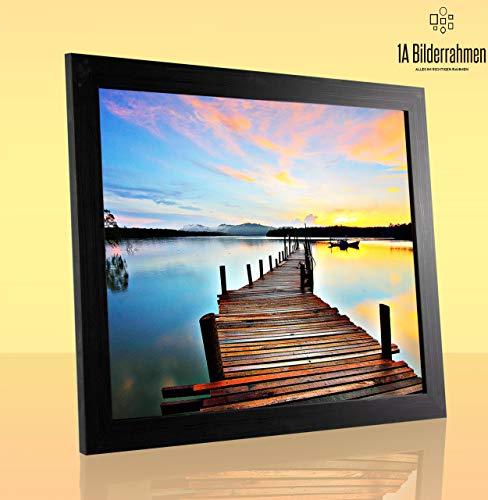 1a Bilderrahmen Monzetta 53x81 Schwarz gemasert 81x53 cm mit Rückwand und klarem Acrylglas 1mm
