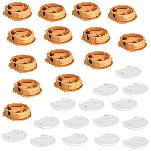 Gedotec Korpusverbinder Caravan Möbelverbinder zum Schrauben & Einpressen für leichte Möbel-Verbindungen | Ø 26 mm | Kunststoff weiß | 25 Set - Verbindungsbeschläge für Wohnmobil - Boote & Küche