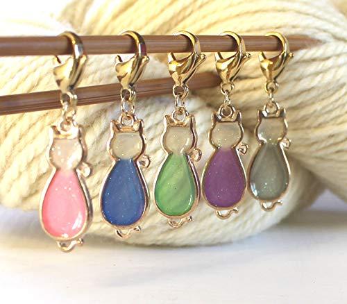 Set of 5 Cat Kitten Stitch Markers for Knitting or Crochet Knit Pattern Reminder Stitchmarker Pattern Helper Knitter Crocheter Gift