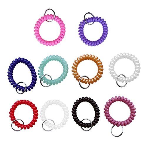 10er Set Schlüsselband Spirale Handgelenk Fitness Spiral Armband Schlüsselarmband Schlüsselanhänger - Bunt