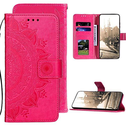 Kompatibel mit Samsung Galaxy A51 Hülle PU Leder Tasche Brieftasche Flip Handyhülle,QPOLLY Totem Blumen Muster Magnetisch Klapphülle Schutzhülle mit Standfunktion für Galaxy A51,Rose rot