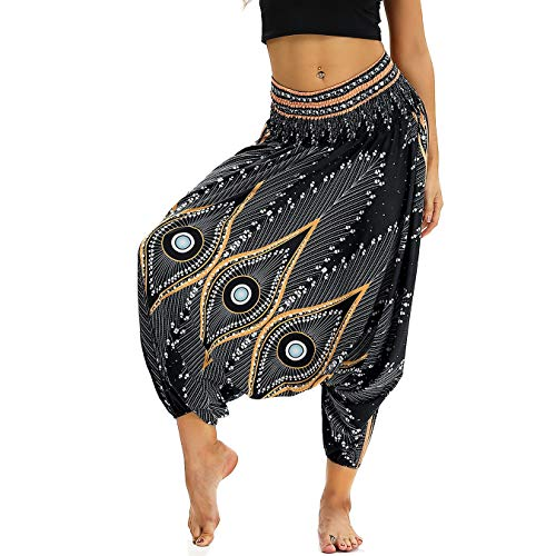 Nuofengkudu Women Baggy Thai Harem Palazzo Trousers Culottes Boho Vintage Patterned High...