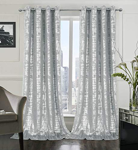 Alexandra Cole Soft Velvet Curtains 108 Inch Length Luxury Bedroom Curtains Silver Foil Print Window Curtains for Living Room Set of 2 Silver