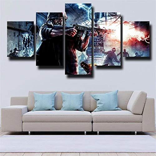 13Tdfc Cuadro En Lienzo, Imagen Impresión, Pintura Decoración, Canvas De 5 Pieza, 150X80 Cm,Call Duty World At War Warrior Mural Moderno Decor Hogareña