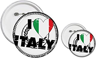 I Love Italy Word Flag Love Heart Pattern Pin's Button Design Kit Craft Sets