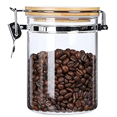 Clear Borosilicate Glass Food Storage Jar Canister Container Set with Airtight Locking Clamp Bamboo Lid,Kitchen Canister,Glass Coffee Jar Sugar Canister Nuts Flour and Tea Container,BPA Free,27 floz