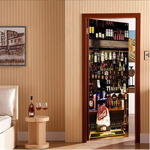 3D deur muursticker wijn wijnkoeler creatieve Vinyl zelfklevende Sticker Decal Art Decor verwijderbare waterdichte muurschildering scène venster deur kamer 88x200cm