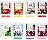 Facio Duftwachs Wax Melts, 8 Pack Soja-Wachswürfel mit stark duftenden ätherischen Ölen für Wachswärmer-Würfel / Torten - Jasmin, Rose, Bergamotte, Feige, Vanille, Zitrone, Frühling, Lavendel