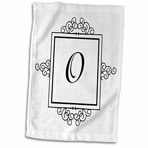 3dRose handdoek, letter O, monogram, elegant, stijlvol, personaliseerbaar, veelkleurig, 38 x 56 cm