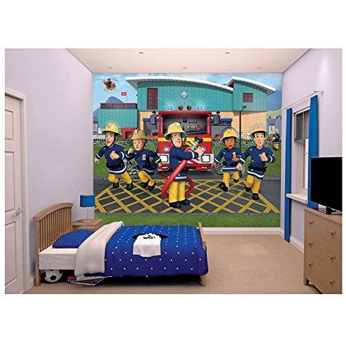 Feuerwehrmann Sam Fototapete Bild 2,44 x 3,05 m | Walltastic Wandtapete