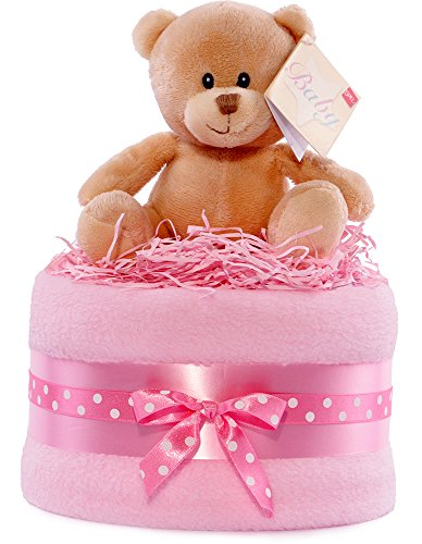 PureNappyCakes Hug Bear - Pañal para baby shower, color rosa