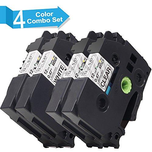 Nastro Etichette Invoker Compatibile In sostituzione di Brother P-touch 2x TZe-231 e 2x TZe-131 Adesive Cartucce 12mmx8m, con P-Touch 1000W 1010 2030VP H100R,Nero su Bianco/Trasparente,confezione da 4