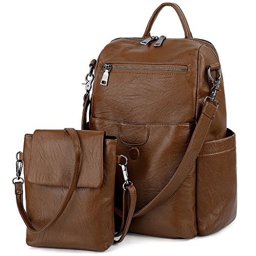 UTO Women Backpack 3 Ways Shoulder Handbag with Detachable Crossbody Bag PU Leather Brown
