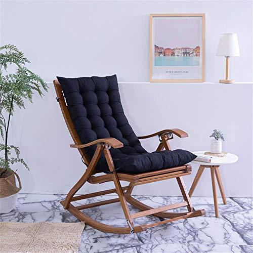 HANHAN Cojín de respaldo alto para silla de madera balancín de balancín portátil grueso suave para verano, tumbona de asiento para viajes, vacaciones en interiores y exteriores, negro