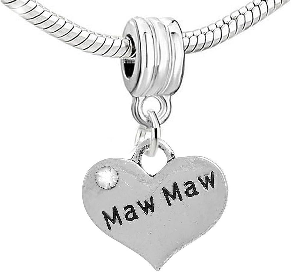 Maw Maw Charm Heart Dangle Bead Spacer for Snake Chain Charm Bracelet