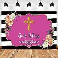 背景布 ポートレート写真の縞模様の背景写真の背景クロスゴールド神はあなたの花を祝福しますパーソナライズされたポスター-150x220cm