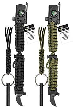 A2S 2 Tranchant Paracord Bracelet 4pcs Ensemble de Vitesse de Survie avec Boussole intégrée, Allume-feu, Couteau d'urgence et sifflet + 2 Allume-feu - Kit d'urgence de Couteau EDC (Noir/Vert)