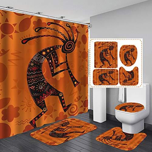 Fashion&Man 16PCS/Set Egyption African Woman Shower Curtain, Art Ethnic Tribal Indian Kokopelli Shower Curtain, Waterproof Fabric Bath Curtain, Non-Slip Bathroom Mat Toilet Carpet Bath Mat, Style 12