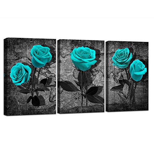 Blue Rose Flower Picture Canvas Wall Art for Bedroom Living Room Bathroom Wall Decor for Kitchen Black and White Rose Flowers Blue Canvas Wall Art Decor (blue flower,12x16inchx3pcs)