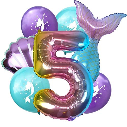 DIWULI, großes Meerjungfrau Luftballon Set, XL Zahlen-Ballon Zahl 5, Folien-Ballons, Latex-Ballons 5. Kinder-Geburtstag Junge Mädchen, Motto-Party, Dekoration, Ballon-Set Deko lila bunt, Meer, Muschel
