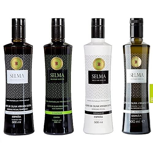Aceite de Oliva Virgen Extra Gourmet. Pack mixto de 12 botellas de AOVE Organic, Gran Selección, Coupage y Selección - Selma Millenary Olive Oil - Botellas 500 ml. Diseñada por Monica Armani