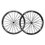 ICAN 700C Light Weight Road Bike Carbon Wheelset Clincher 38mm Basalt Brake Surface Rim Brake Only 1420g (Classic Wheels)