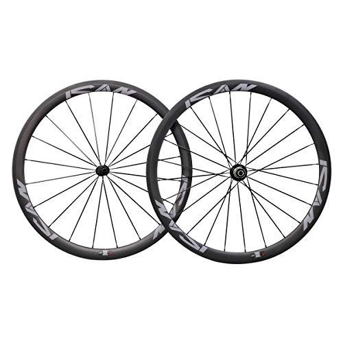 ICAN Ultraleichtes Carbon Laufradsatz 700C Drahtreifen für Rennrad 38mm Sapim CX Ray Speichen