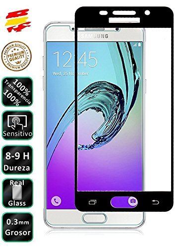 Movilrey Protector para Galaxy A5 2016 Negro Completo 3D Cristal Templado de...