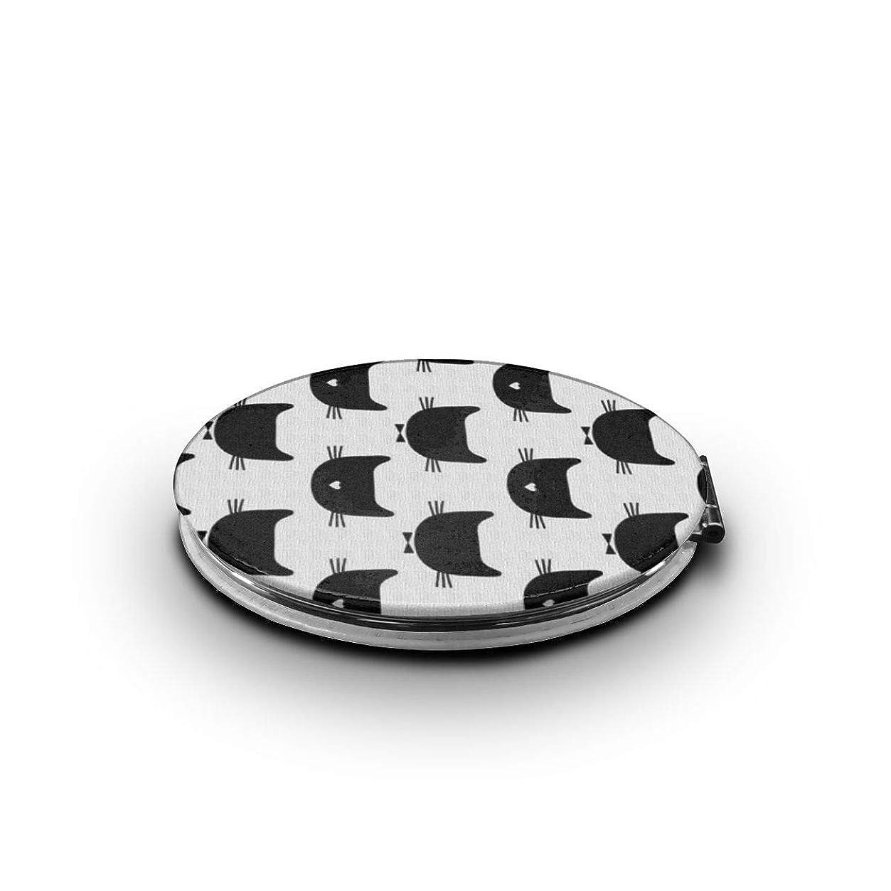 あいさつ臭い毎回化粧鏡 猫 ブラック 折りたたみ 自由 角度調整 180° 回転 女優ミラー 携帯用ミラー コンパクトコンパクト ミラー