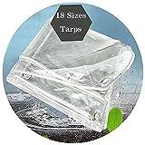 HAI RONG Lona transparente de PVC transparente resistente al agua, cubierta de lona de poliéster transparente con ojales resistencia al desgarro invernadero bordes reforzados, lona de 18 tamaños