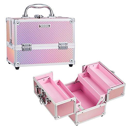 Frenessa Makeup Train Case Beauty Cosmetic Box 4 Tier Trays Jewelry Storage Organizer with Lockable...