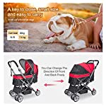 IREENUO Pet Trolley Cart, 4 Wheels Foldable Pram for Cat Dog, 360° Rotation Front Wheel Pet Travel Stroller, Quick Folding, Max Loading 30kg - Blue 14