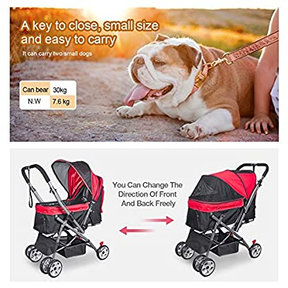 Wooce Pet Four-wheeled Reversible Trolley Cats Dogs Carts Shockproof Durable Stroller Adjustable Direction,One-click Folding,Quick Installation,Suitable For Travel(Blue) 7