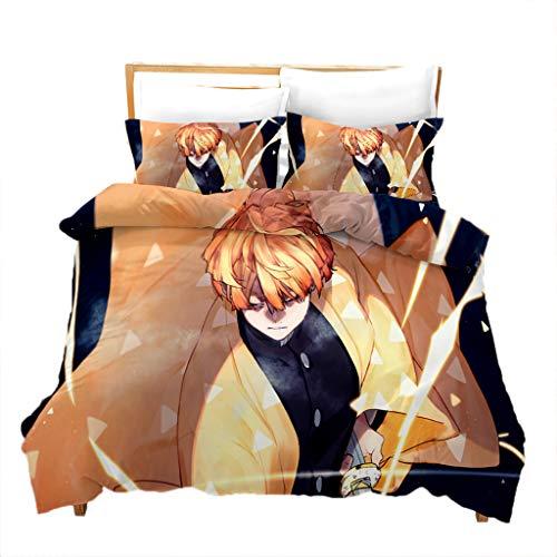 Conjunto de cama 3D caçador de demônios anime jogo de cama para cama de casal Queen Size - 1 capa de edredom + 1/2 capa de almofada - Conjuntos de capa de edredom de microfibra macia para amantes de fãs, decoração de casa (23, solteiro)