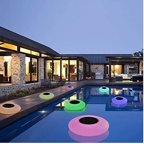 DierCosy Flotante de luz LED Piscina Inflable de la lámpara de 7 Colores solares Redondas Luces Piscina al Aire Libre Jardín Decoraction