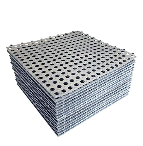 24pcs Interlocking Rubber Floor Tiles with Drain Holes DIY Size