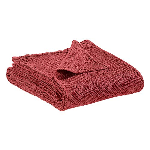 Vivaraise - Jeté de canapé - Couverture canapé - Couvre-lit pour canapé - Couvre-canapé - Drap canapé - 240 x 260-100% Coton - Garance Rouge - Ava