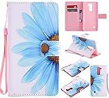 Nancen Compatible with LG G Stylo 2 / LG Stylus 2 / LG Stylus 2 Plus LS775 K520 (5,7 Zoll) Hülle/Handyhülle, Zwei Kartenfächer & Eine Brieftasche Etui [Blaue Blumen]