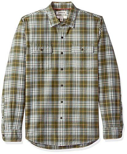 Marca Amazon – Goodthreads – Camisa de manga larga de espiga a cuadros de corte entallado para hombre, Verde (Olive Plaid Oli), US L (EU L)