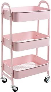 AGTEK Makeup Cart, Movable Rolling Organizer Cart, 3 Tier Metal Utility Cart, Pink