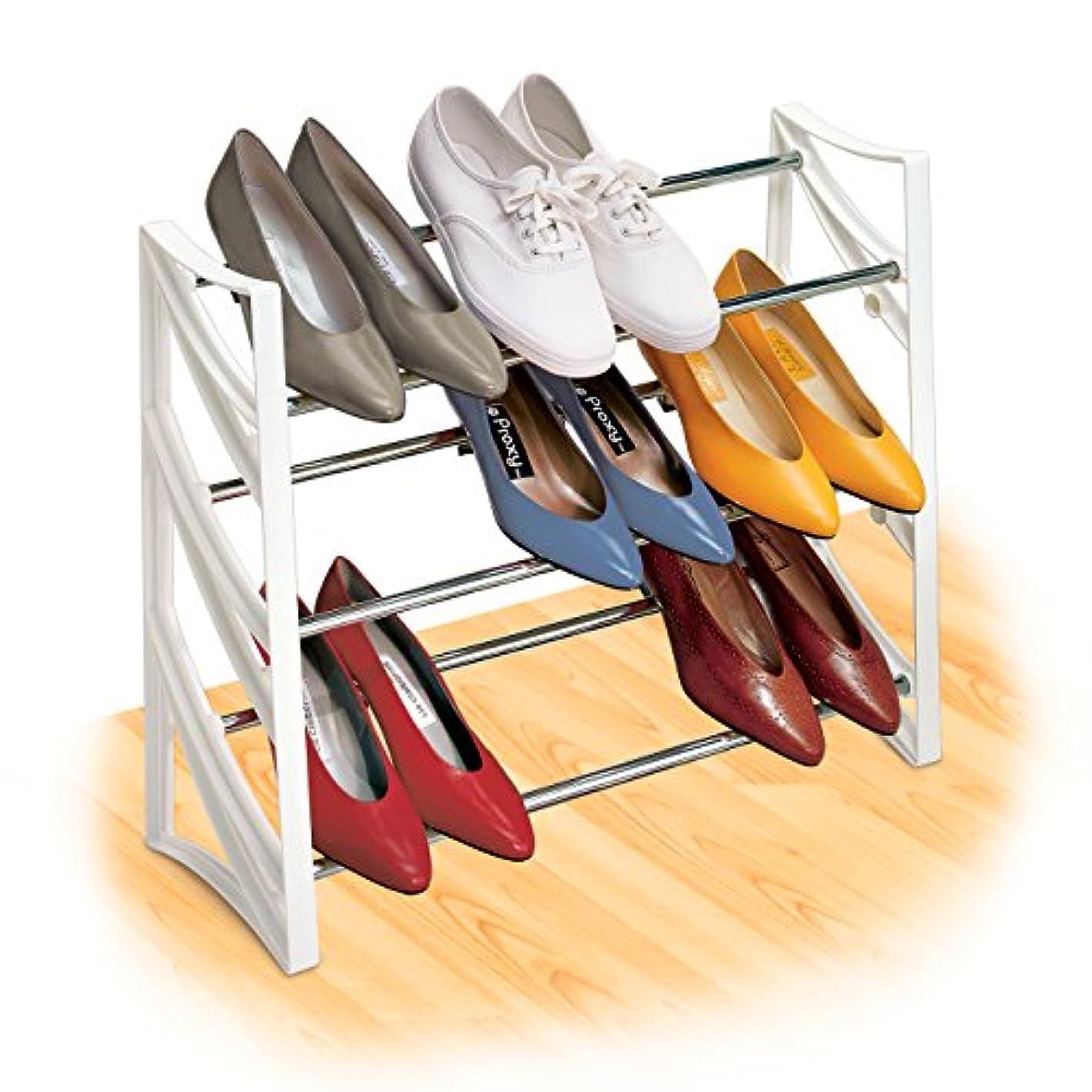 Lynk 9 Pair Convertible Shoe Rack Organizer - 3 Tier - Closet Shoe Rack - White rktmng6187874